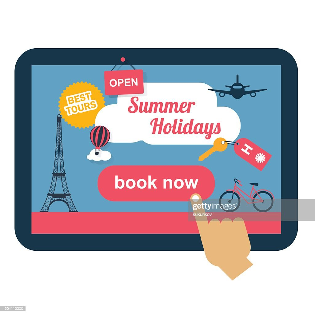 booking online concept for vacation with flat icons