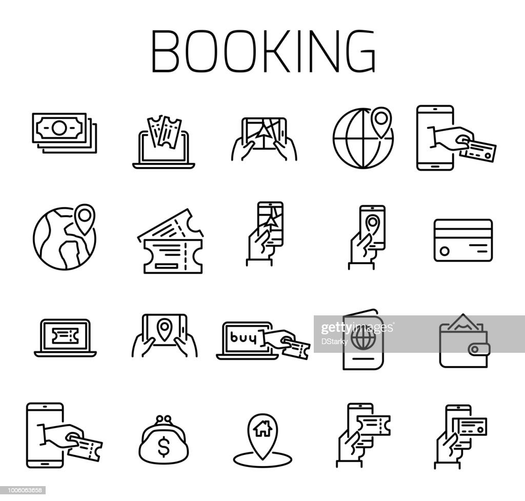 Booking related vector icon set.