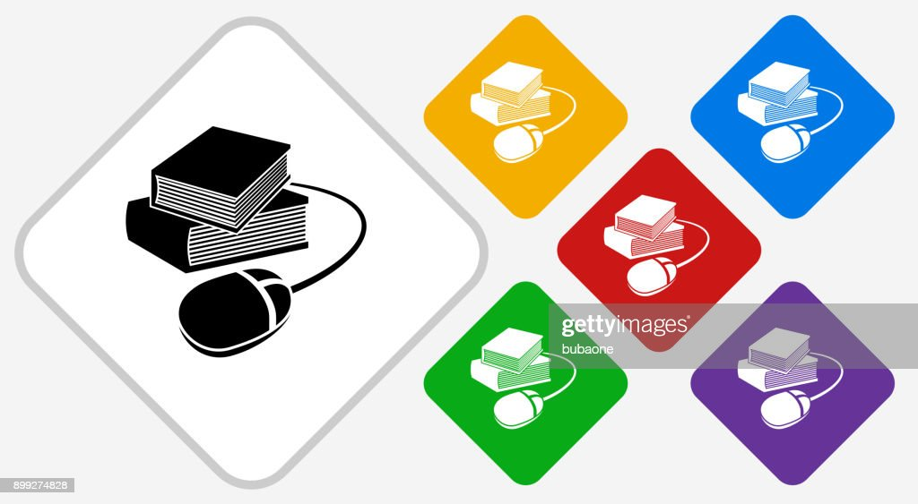 Books and Computer Mouse Color Diamond Vector Icon : stock illustration