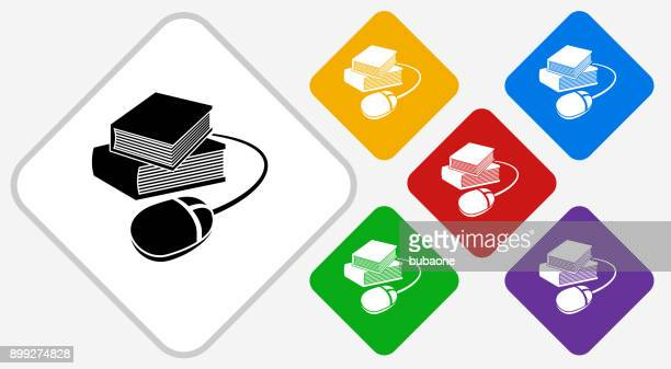 Books and Computer Mouse Color Diamond Vector Icon
