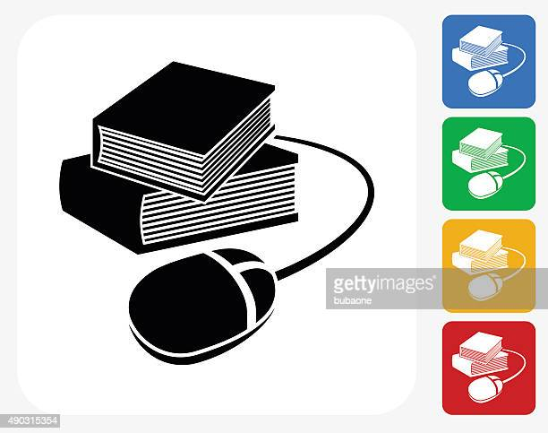 Books and Computer Mouse Icon Flat Graphic Design