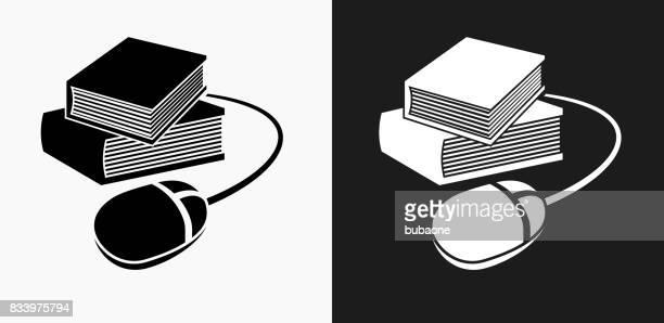 Bücher und Computer-Maus-Symbol auf schwarz-weiß-Vektor-Hintergründe