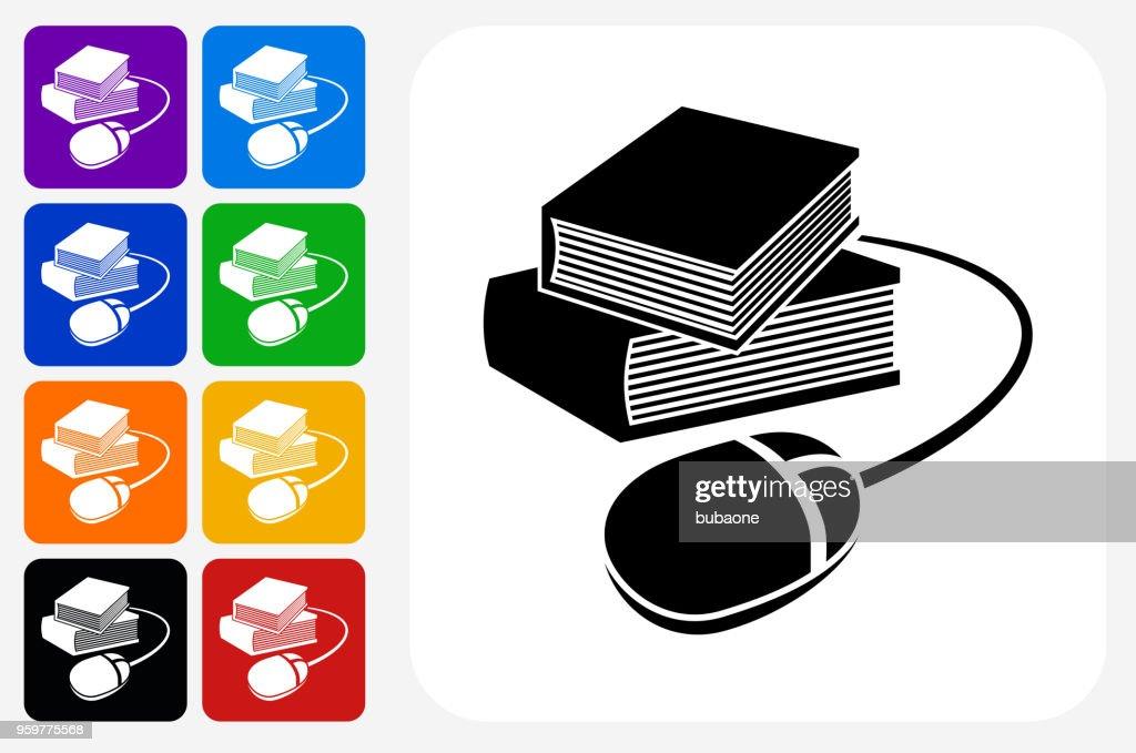 Bücher und Computer Maus Symbol Square Buttonset : Stock-Illustration