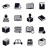 Books and Education Learning Icons and Symbols