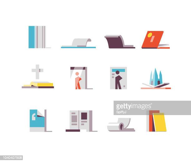 books and magazines flat icons - pop up book stock illustrations