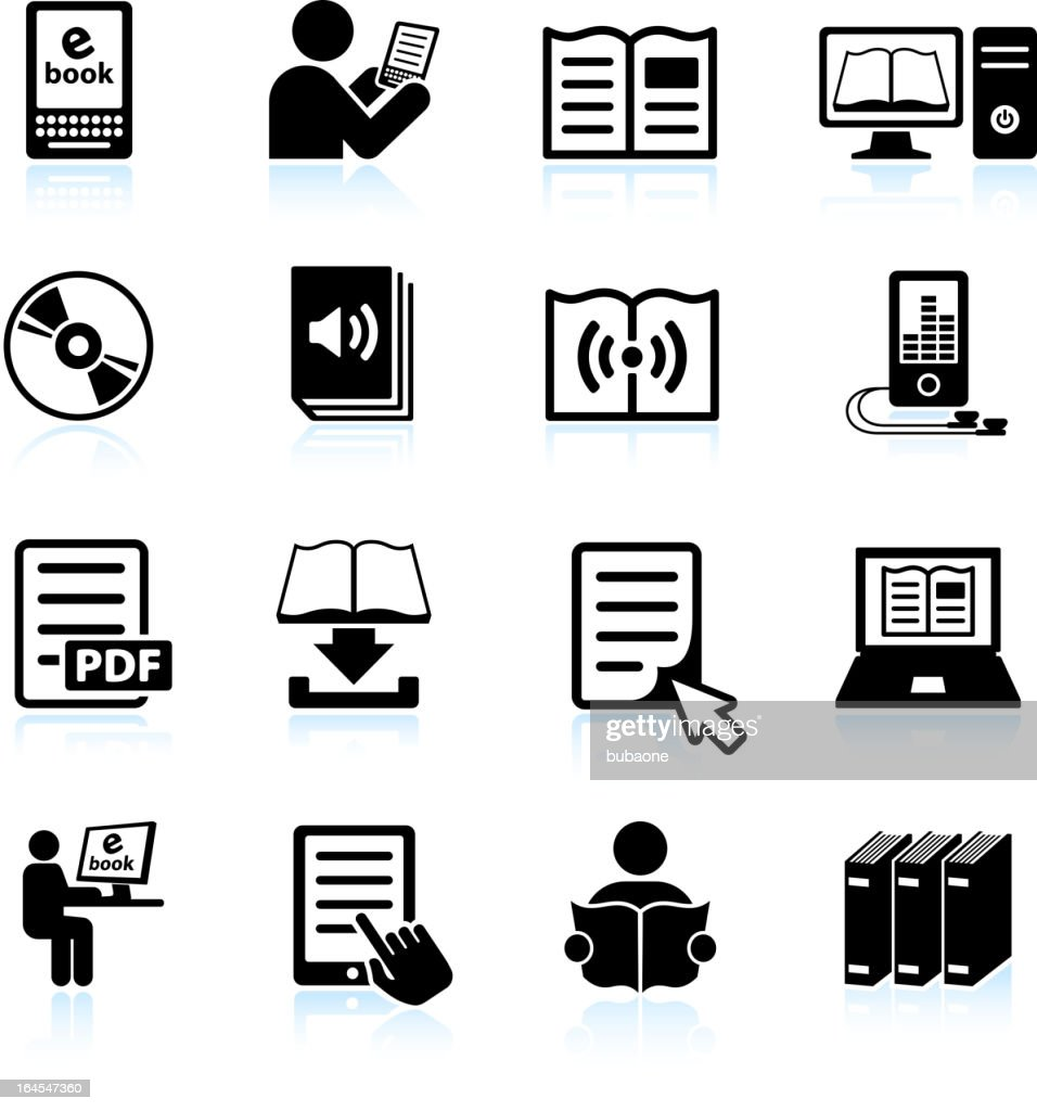 books and modern reading black & white vector icon set