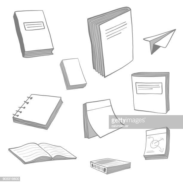 books and notepads sketch collection - post it stock illustrations, clip art, cartoons, & icons