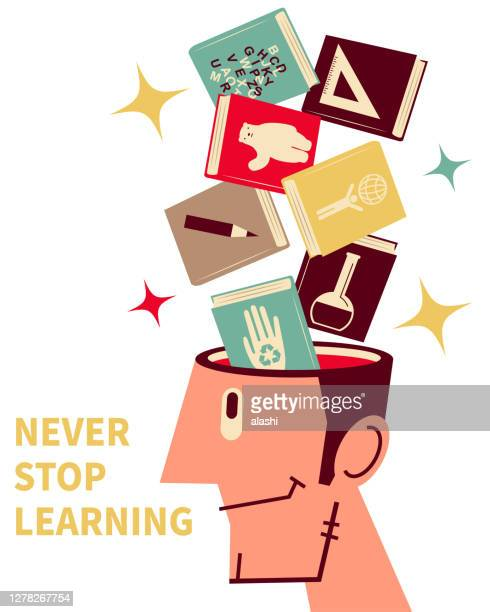 books are flying into (or flying out of) a man's open head; never stop learning; to invest in yourself - literature stock illustrations