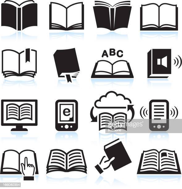ilustrações, clipart, desenhos animados e ícones de livros & preto e branco royalty free vector conjunto de ícones - livraria