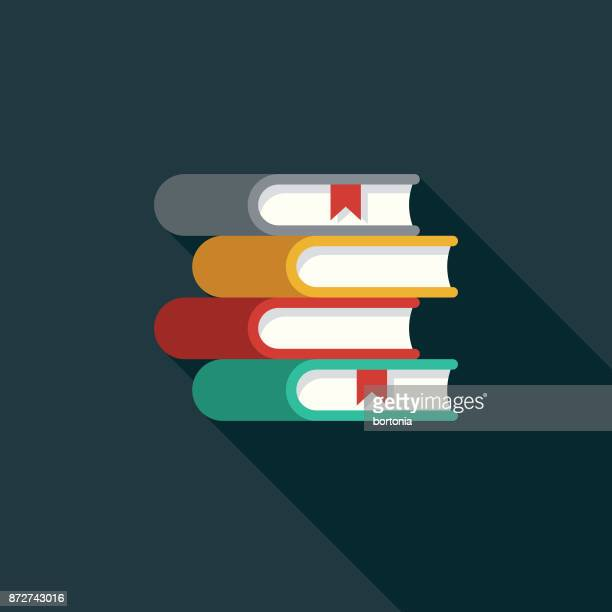 Books Flat Design Education Icon with Side Shadow