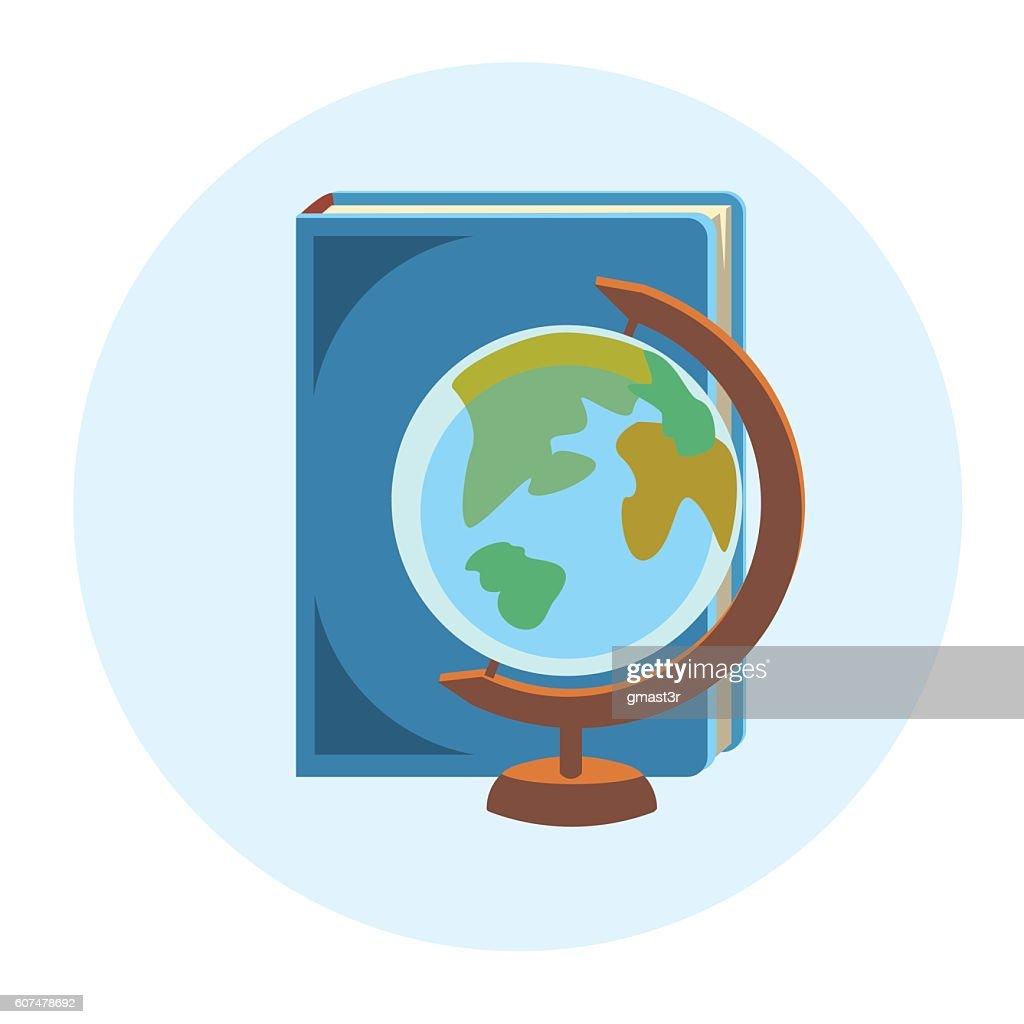 Books Globe School Geography Education Colorful Web Icon