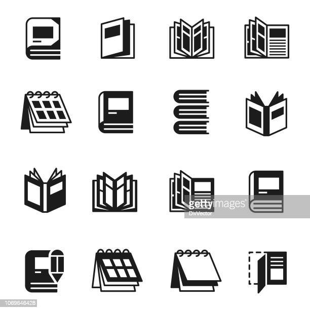 books icon set - magazine stock illustrations