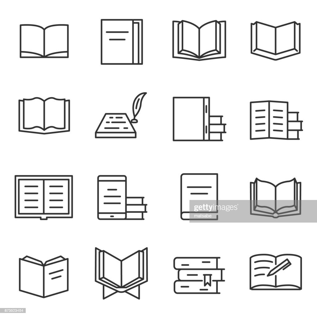 Books icon set.Editable stroke.