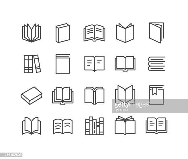 books icons - classic line series - book stock illustrations