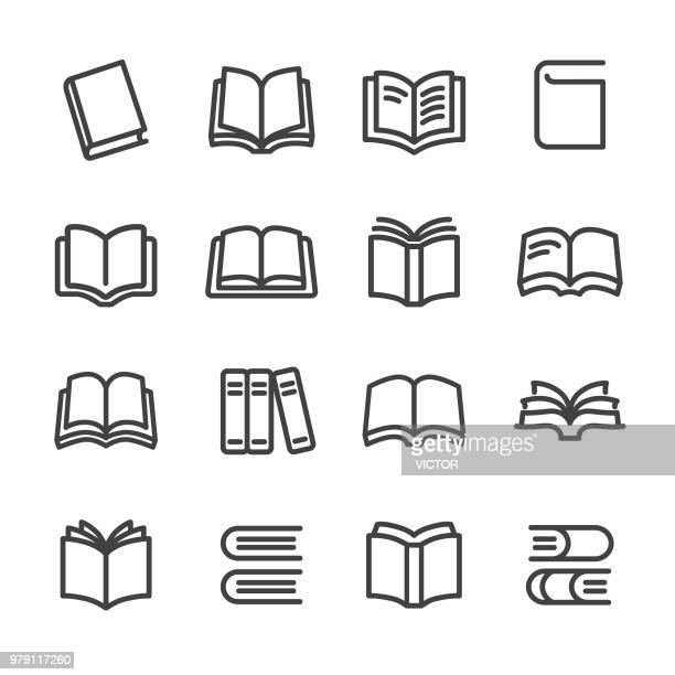 books icons - line series - library stock illustrations