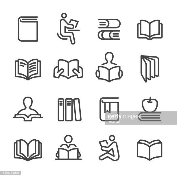 books icons set - line series - library stock illustrations