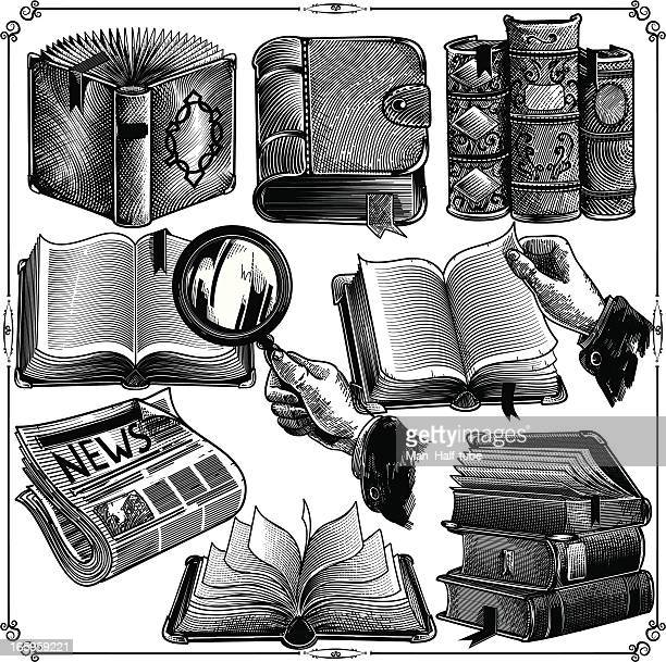 books icons - antique stock illustrations