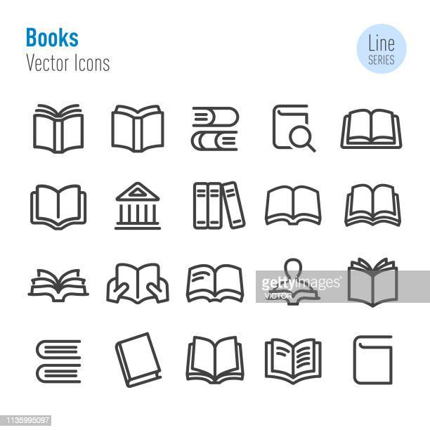 books icons - vector line series - book stock illustrations