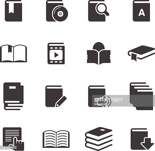 books information - simple icons - library stock illustrations