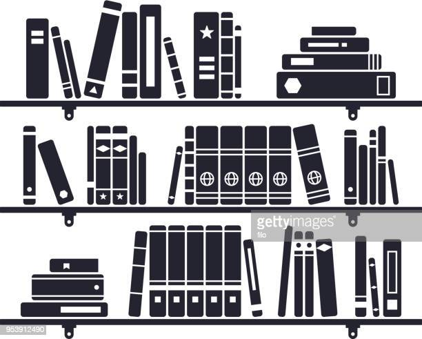 books on a bookshelf - library stock illustrations