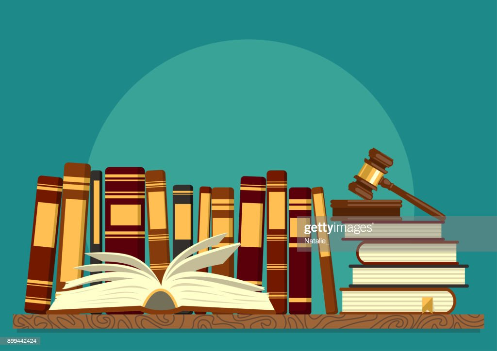 Books on shelf with open book and judge gavel