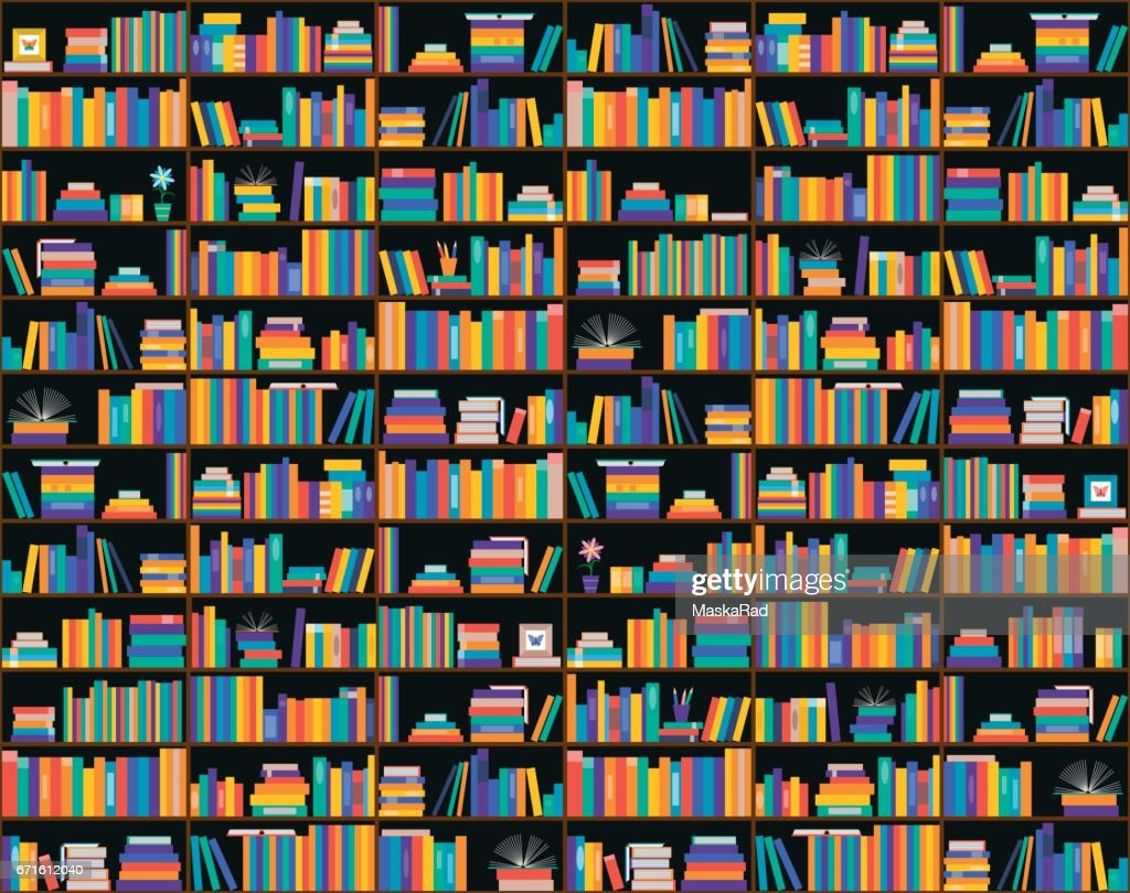 Books on shelves, seamless pattern. Bookcase, library.