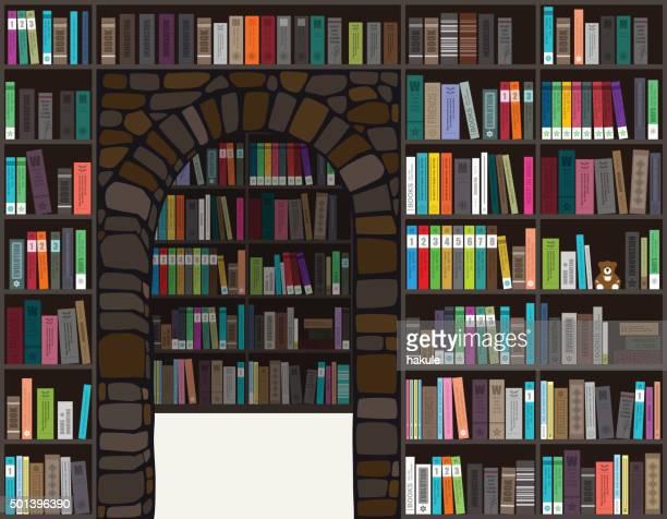 ilustrações, clipart, desenhos animados e ícones de livros na estante, vetor - livro de capa dura