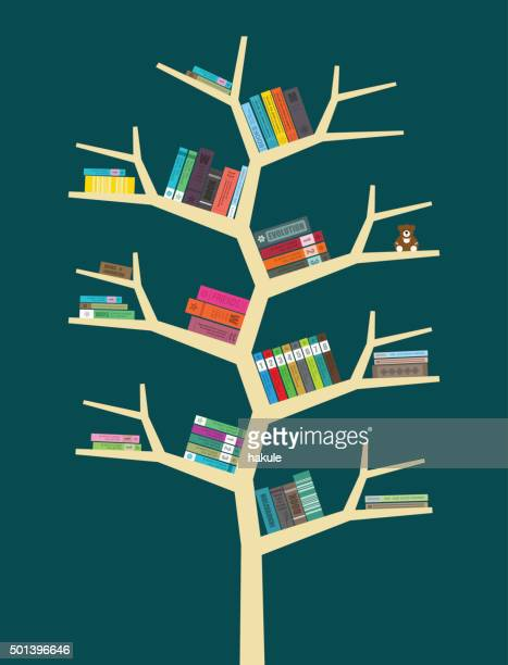 books on the bookshelf, vector - library stock illustrations