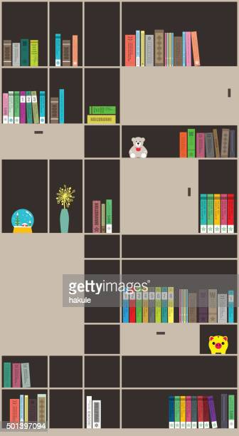 books on the bookshelf, vector - pastry lattice stock illustrations, clip art, cartoons, & icons