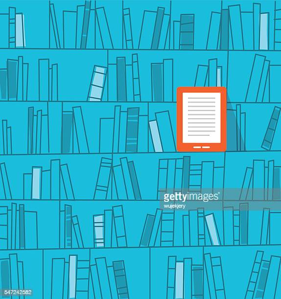 books on the shelf, ebook reader