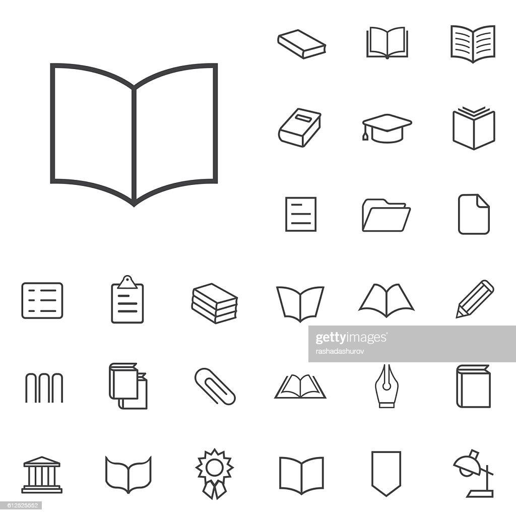 books outline, thin, flat, digital icon set