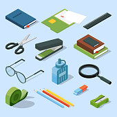 Books, paper documents in folders, and other base stationary elements set. Vector isometric office equipment