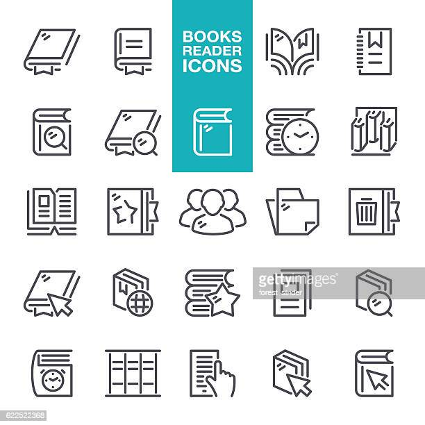 Books Reader Line Icons