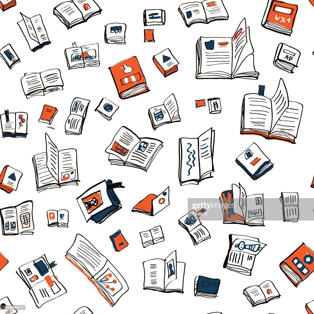 Books seamlesss pattern, sketchy design