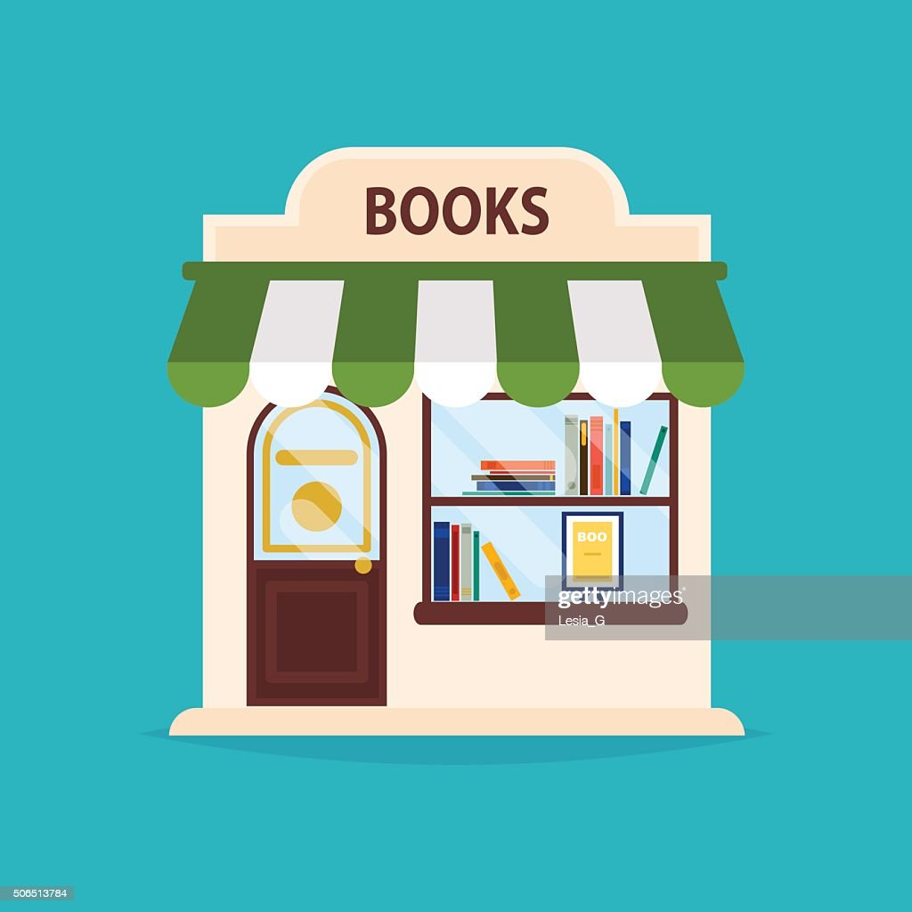 Books shop facade. Vector illustration of books shop building. I