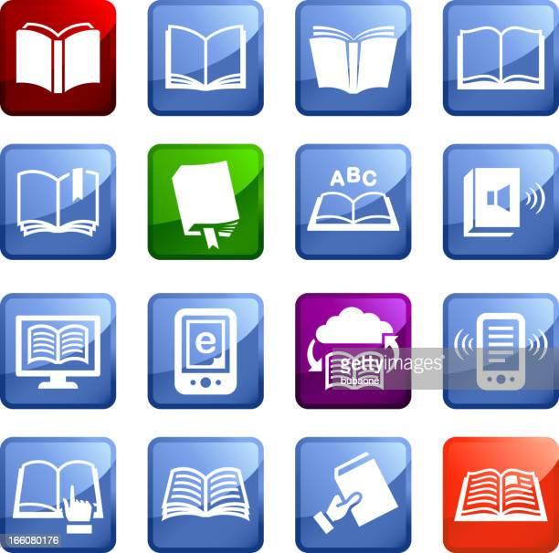 books sixteen royalty free vector icon set stickers - encyclopaedia stock illustrations, clip art, cartoons, & icons