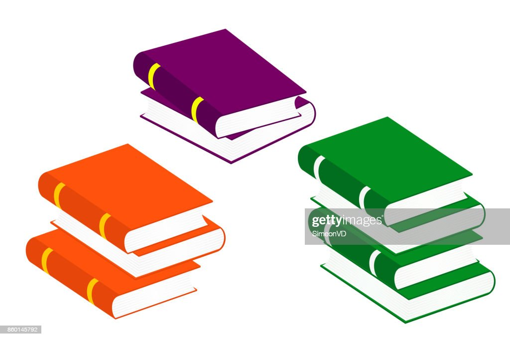 Books Stack Icons. Set Vector Isolated Pictogram of Different Colors