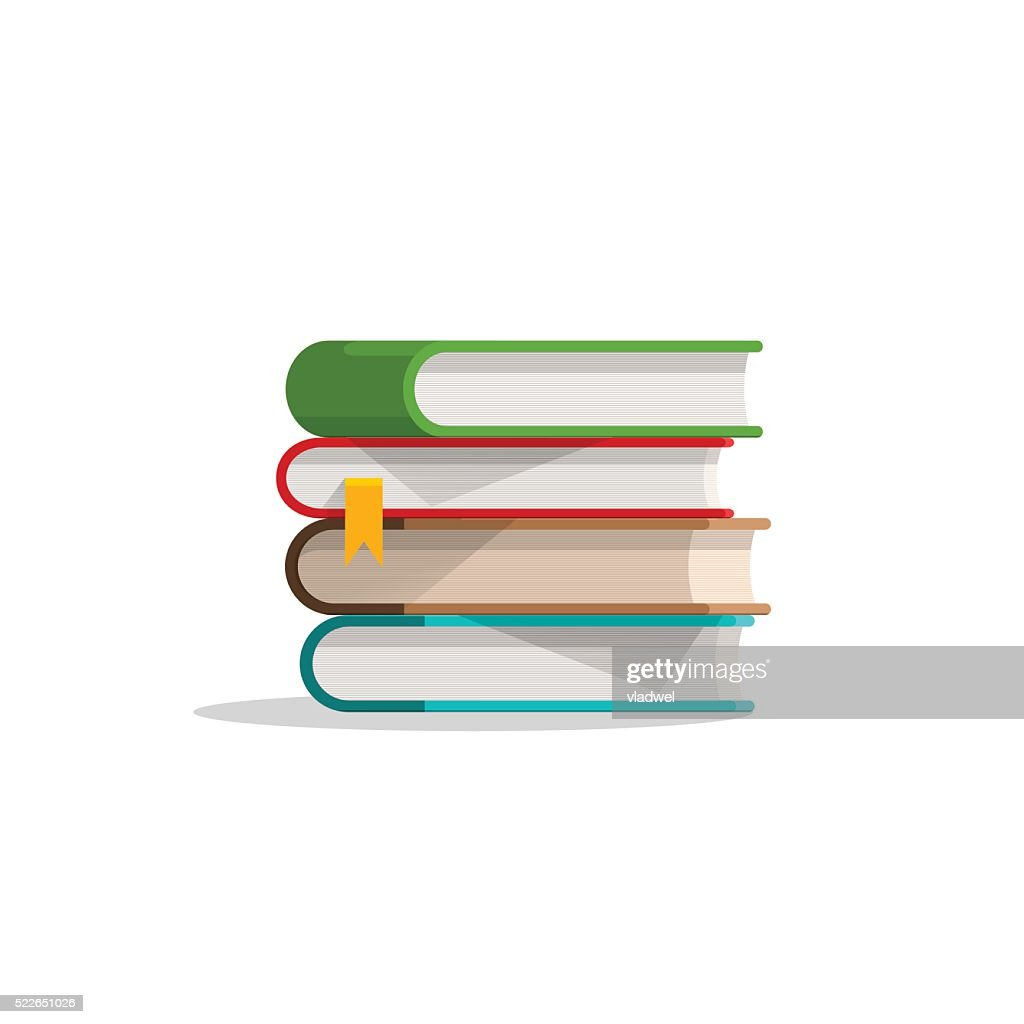 Books stacked pile and bookmark, textbook stack with shadow, symbol