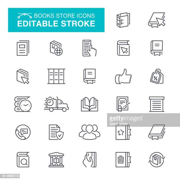 books store icons editable stroke - history stock illustrations