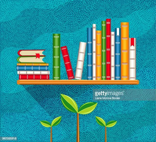 ilustrações, clipart, desenhos animados e ícones de livros  - livraria