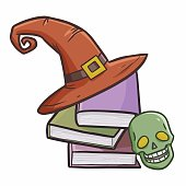 books wearing witch hat for Halloween
