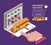 Bookshelf and school bus