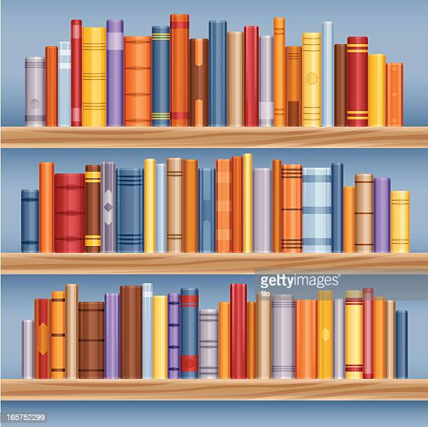 bookshelf full of books - library stock illustrations