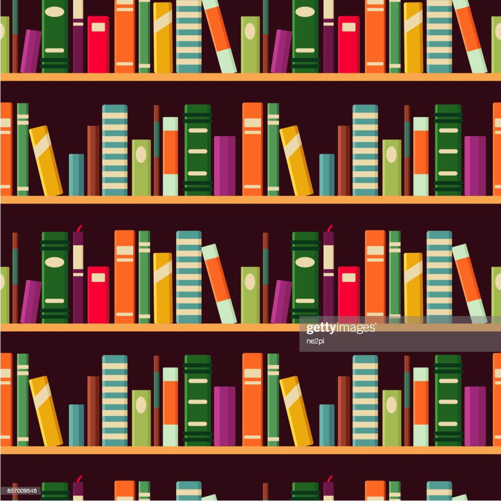 Bookshelf. Seamless vector pattern with books.