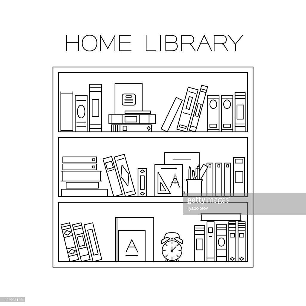 Bookshelf thin line.