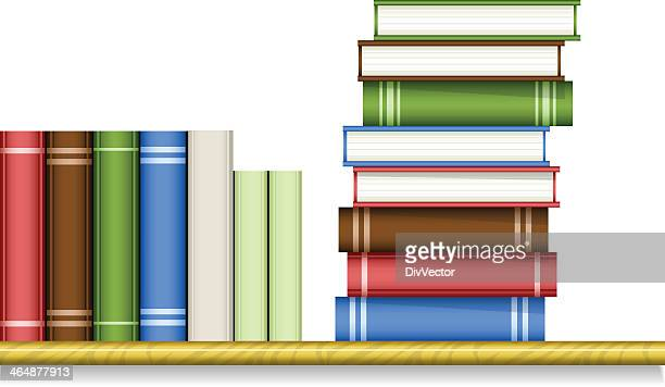 Bookshelf with books stacked vertically and horizontal