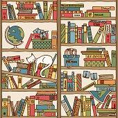 Bookshelf with travel books and sleeping cat (seamless background)