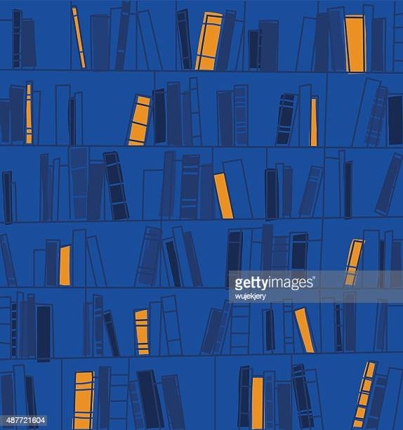 bookshelves vector backgrond - library stock illustrations