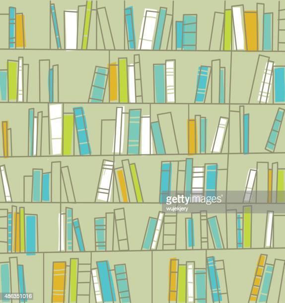 bookshelves vector illustration - bookstore stock illustrations, clip art, cartoons, & icons