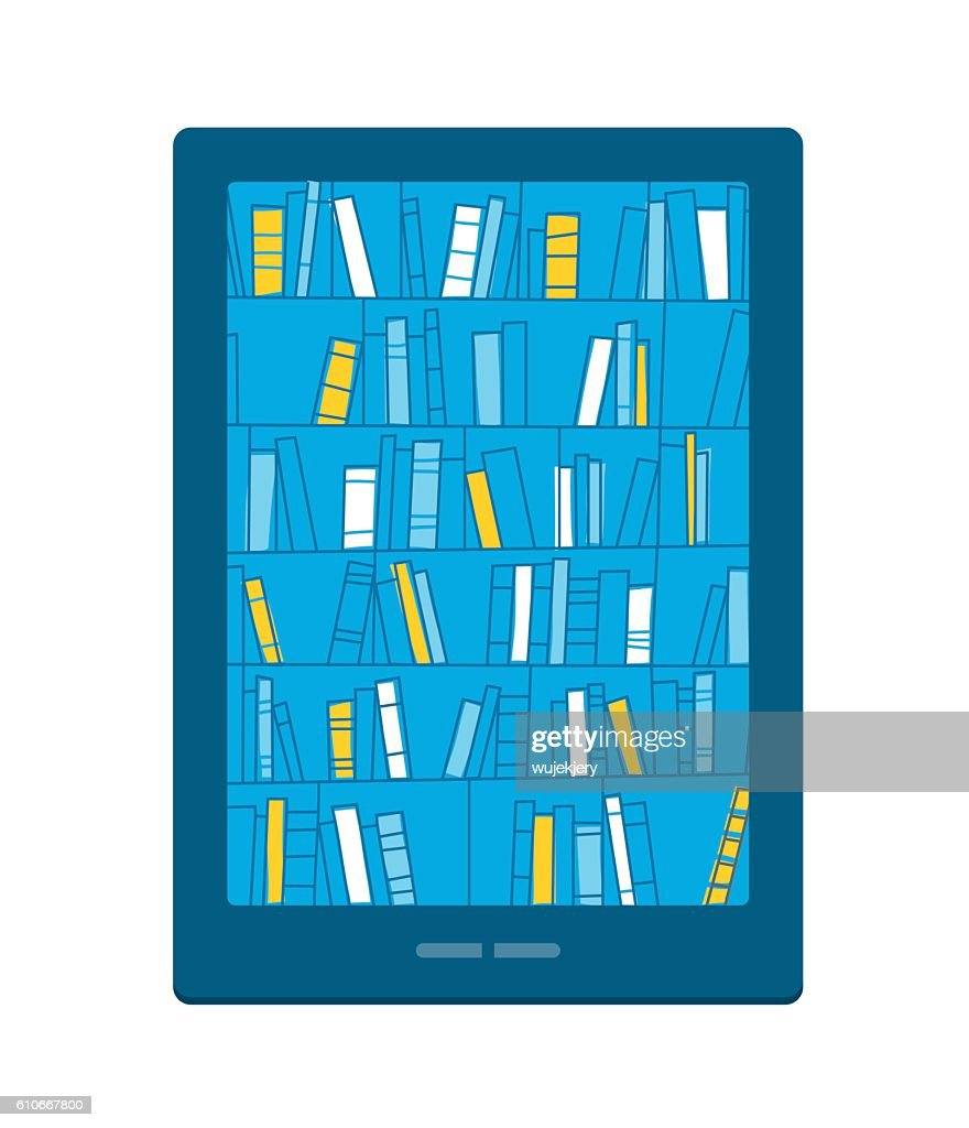 Bookshelves with books on smartphone screen. Digital library. : stock illustration